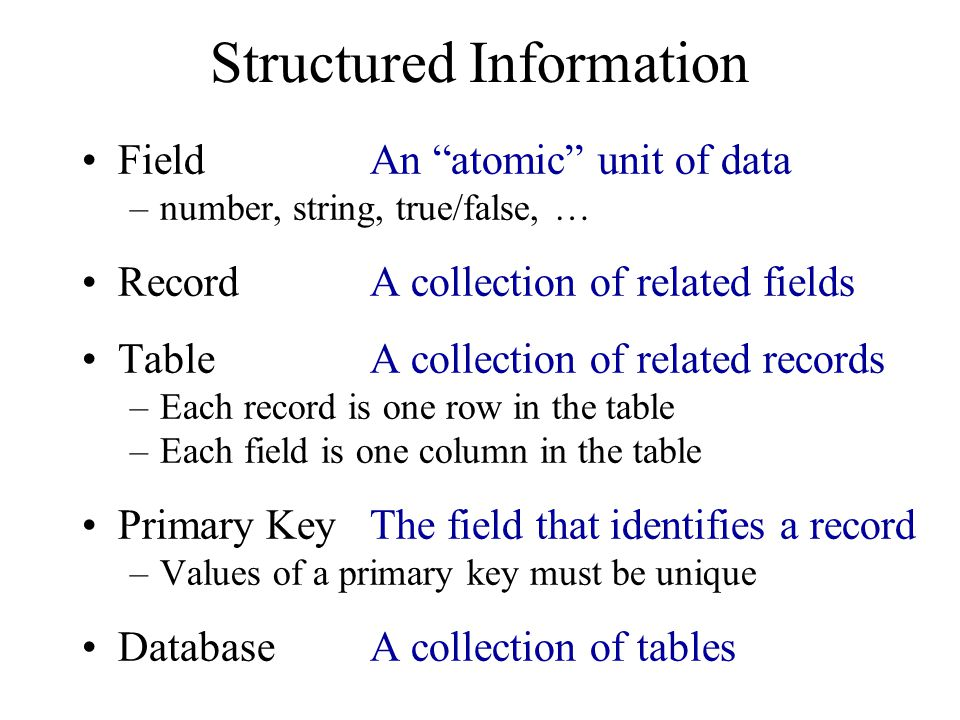 Normalized Table Structure Persons: id, fname, lname, userid, password Contacts: id, ctype, cstring Ctlabels: ctype, string Students: id, team, mrole Iroles: id, irole Rlabels: role, string Projects: team, client, pstring