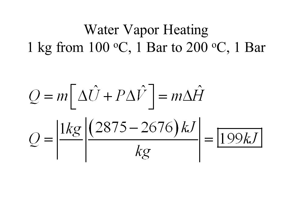 Constant Volume Water Vapor Heating 1 kg from 100 o C, 1 Bar to 200 o C, P=?