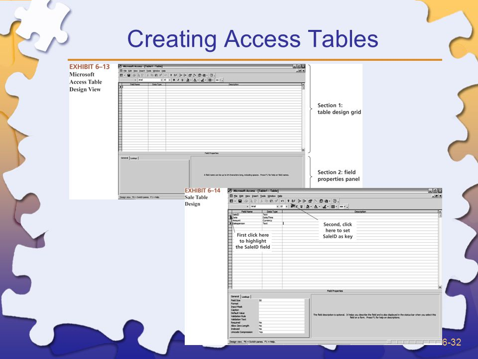 6-32 Creating Access Tables