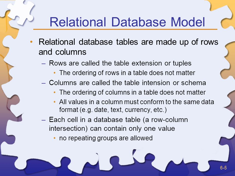 6-5 Relational Database Model Relational database tables are made up of rows and columns –Rows are called the table extension or tuples The ordering of rows in a table does not matter –Columns are called the table intension or schema The ordering of columns in a table does not matter All values in a column must conform to the same data format (e.g.