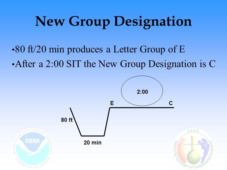 New Group Designation 80 ft/20 min produces a Letter Group of E After a 2:00 SIT the New Group Designation is C 80 ft 2:00 EC 20 min