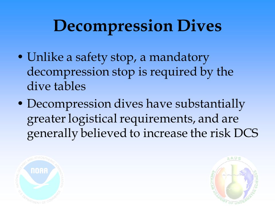 Decompression Dives Unlike a safety stop, a mandatory decompression stop is required by the dive tables Decompression dives have substantially greater logistical requirements, and are generally believed to increase the risk DCS