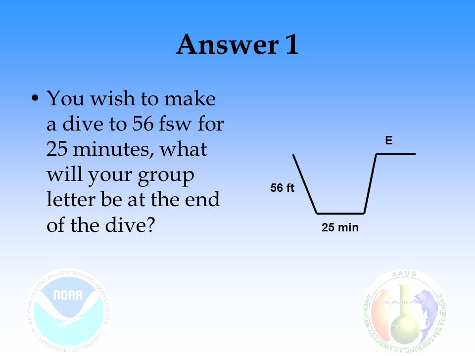 Answer 1 You wish to make a dive to 56 fsw for 25 minutes, what will your group letter be at the end of the dive.
