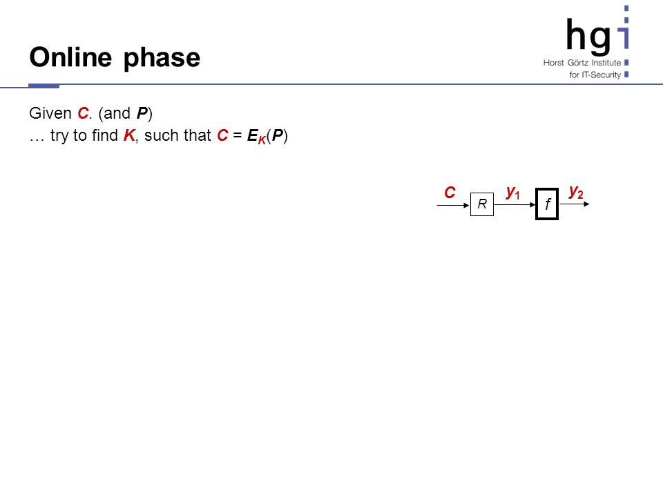Online phase Given C. (and P) … try to find K, such that C = E K (P) R C y1y1 f y2y2