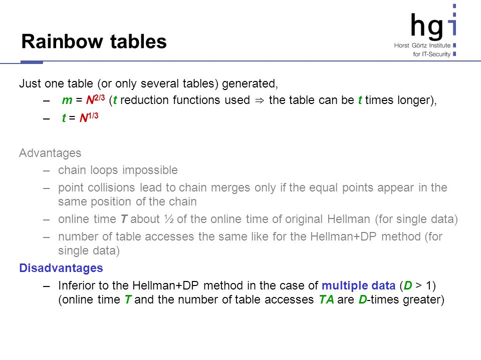 Rainbow tables Just one table (or only several tables) generated, – m = N 2/3 (t reduction functions used the table can be t times longer), – t = N 1/
