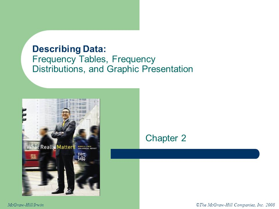 ©The McGraw-Hill Companies, Inc. 2008McGraw-Hill/Irwin Describing Data: Frequency Tables, Frequency Distributions, and Graphic Presentation Chapter 2