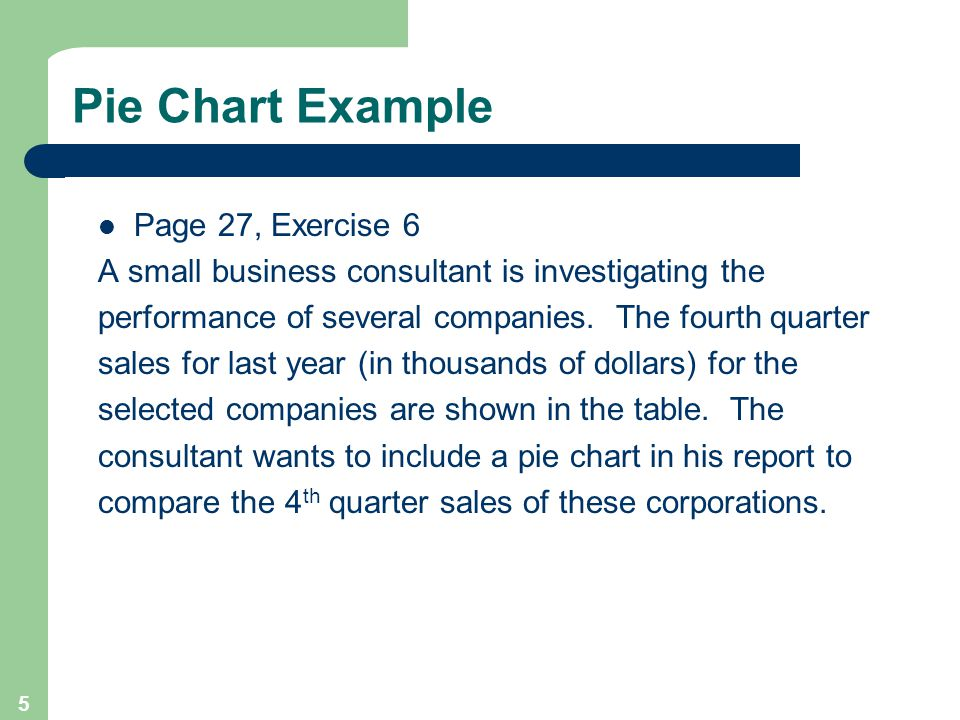 5 Pie Chart Example Page 27, Exercise 6 A small business consultant is investigating the performance of several companies. The fourth quarter sales fo