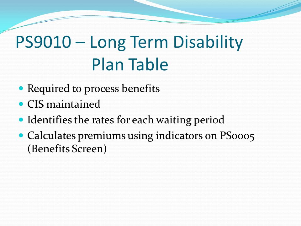 PS9010 – Long Term Disability Plan Table Required to process benefits CIS maintained Identifies the rates for each waiting period Calculates premiums using indicators on PS0005 (Benefits Screen)