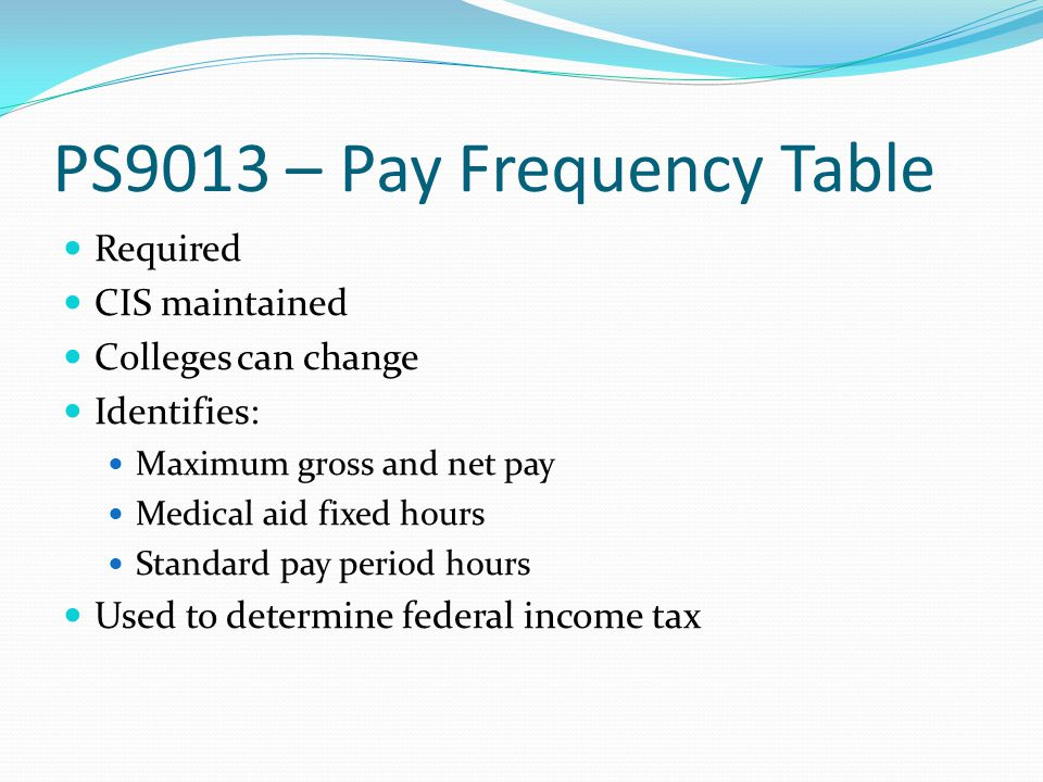 PS9013 – Pay Frequency Table Required CIS maintained Colleges can change Identifies: Maximum gross and net pay Medical aid fixed hours Standard pay period hours Used to determine federal income tax