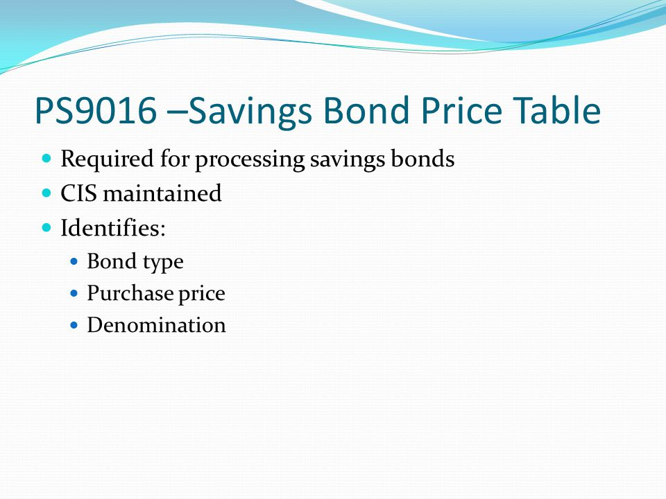 PS9016 –Savings Bond Price Table Required for processing savings bonds CIS maintained Identifies: Bond type Purchase price Denomination