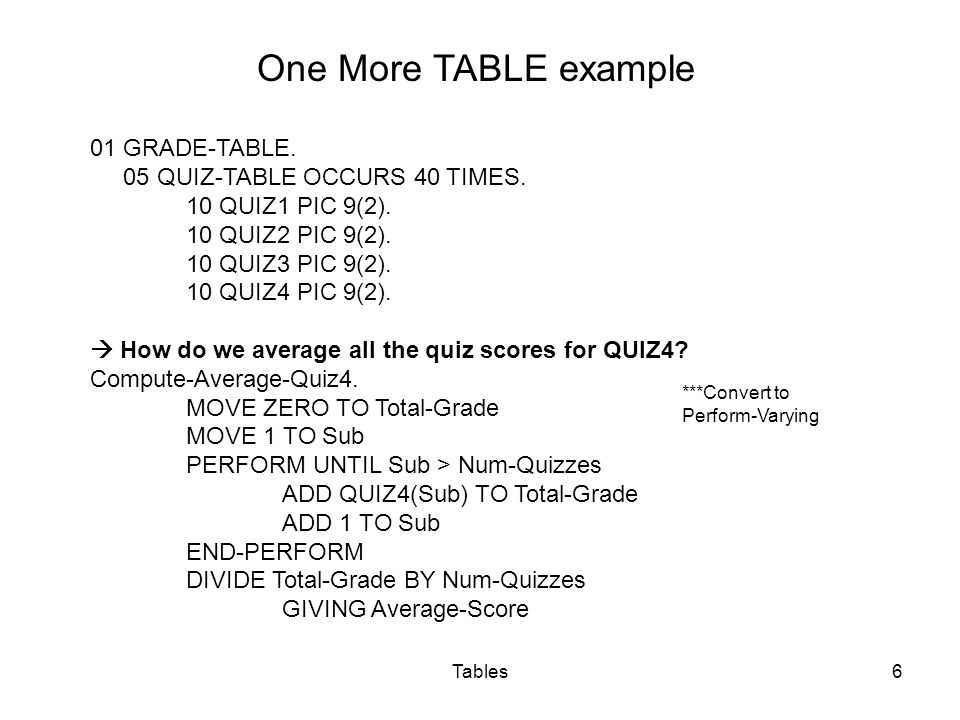 Tables7 Two ways to use VALUE clause to initialize all elements to zero: 01 Array-1Value Zero.