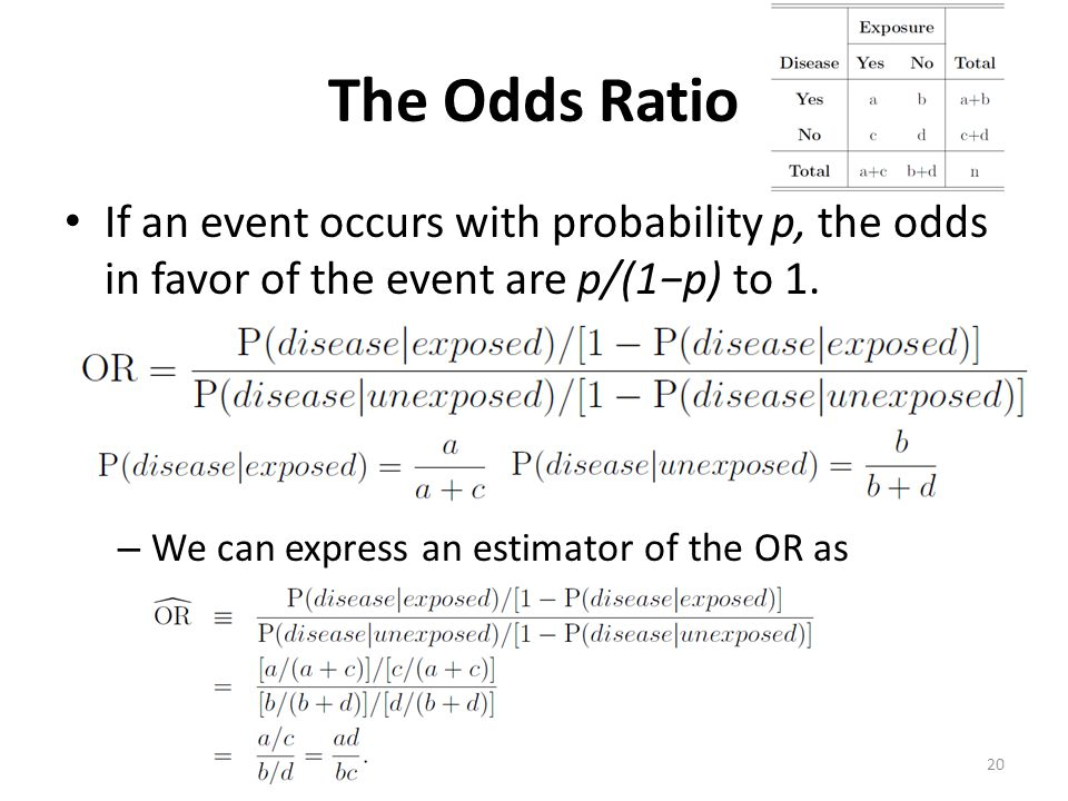 The Odds Ratio If an event occurs with probability p, the odds in favor of the event are p/(1p) to 1. – We can express an estimator of the OR as 20