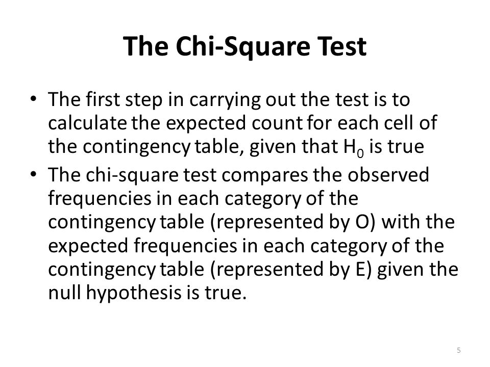 The Chi-Square Test It is used to determine whether the deviations between the observed and the expected counts, OE, are too large to be attributed to chance – where rc is the number of cells in the table.