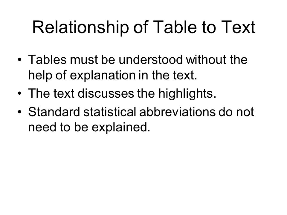 Relationship of Table to Text Tables must be understood without the help of explanation in the text.