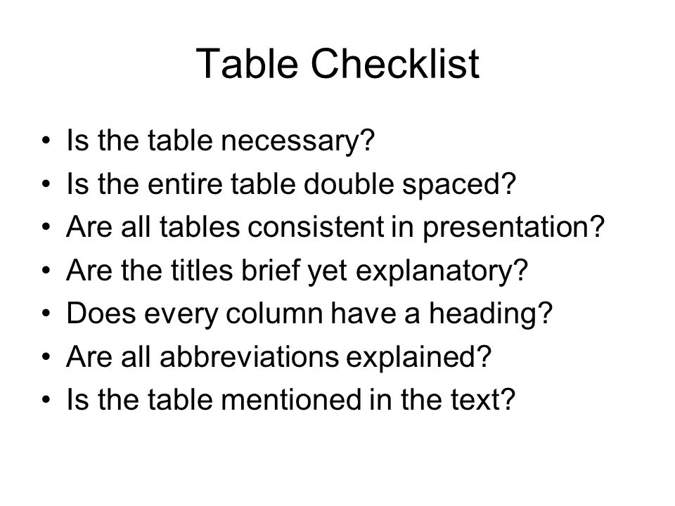 Table Checklist Is the table necessary. Is the entire table double spaced.