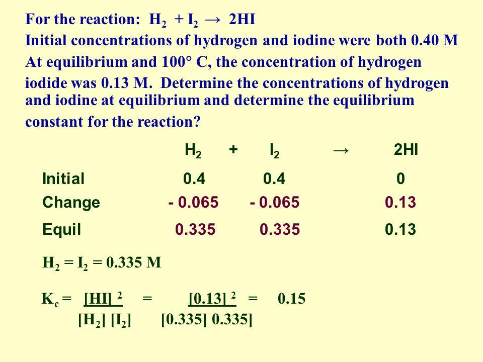 H 2 + I 2 2HI Initial 0.4 0.4 0 Change - 0.065 - 0.065 0.13 Equil 0.335 0.335 0.13 H 2 = I 2 = 0.335 M For the reaction: H 2 + I 2 2HI Initial concent