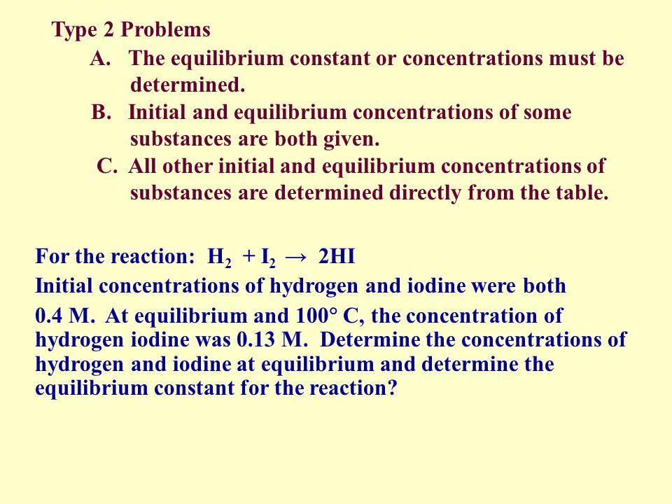 10 = 2x 20 – 10x = 2x 20 = 12x x = 1.67 2-x HF= 2(1.67) = 2.79 M H 2 = 2-1.67 = 0.33 M F 2 = 2-1.67 = 0.33 M H 2 + F 2 2 HF Initial 2.00 2.00 0 Change -x -x 2x Equil (M) 2.00 -x 2.00 - x 2x K c = 1.00 x 10 2 = [[ HF ] 2 = [ 2x ] 2 = [ 2x ] 2 [ H 2 ] [ F 2 ] [2.0 – x] [2.0 – x] [2.00-x] 2