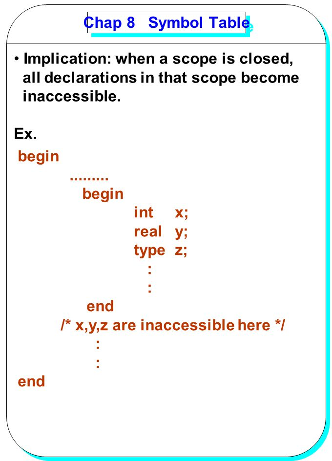 YANG Chap 8 Symbol Table Implication: when a scope is closed, all declarations in that scope become inaccessible. Ex. begin......... begin int x; real