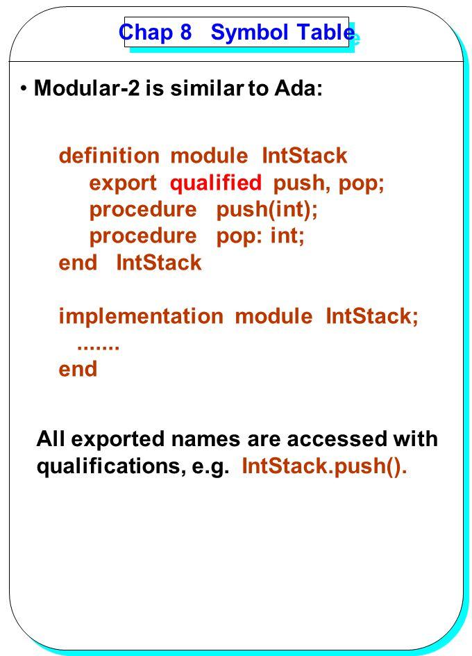 YANG Chap 8 Symbol Table Modular-2 is similar to Ada: definition module IntStack export qualified push, pop; procedure push(int); procedure pop: int;