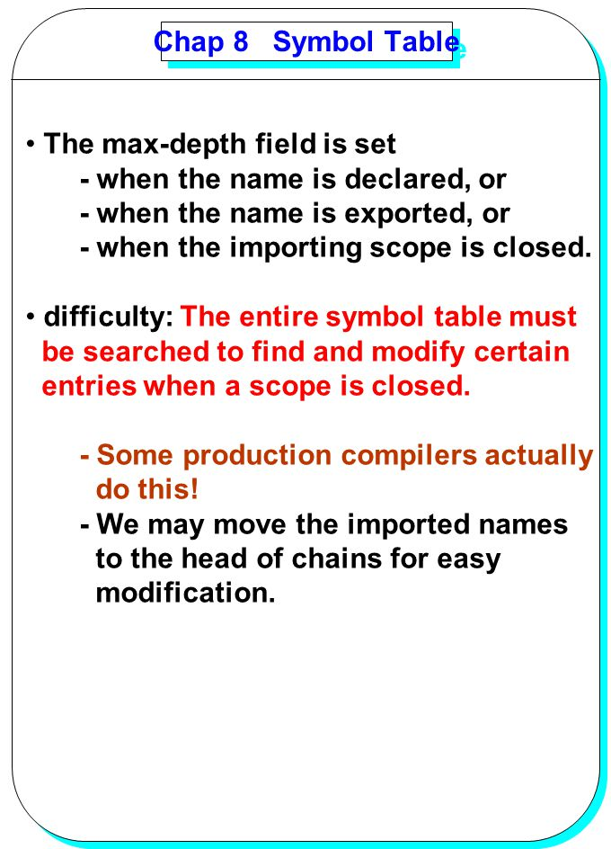 YANG Chap 8 Symbol Table The max-depth field is set - when the name is declared, or - when the name is exported, or - when the importing scope is clos