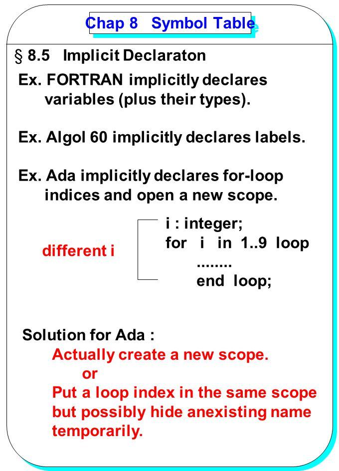 YANG Chap 8 Symbol Table § 8.5 Implicit Declaraton Ex. FORTRAN implicitly declares variables (plus their types). Ex. Algol 60 implicitly declares labe