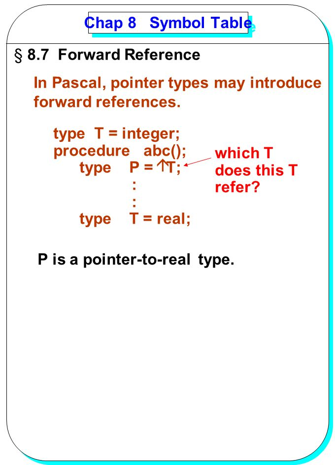 YANG Chap 8 Symbol Table § 8.7 Forward Reference In Pascal, pointer types may introduce forward references. type T = integer; procedure abc(); type P