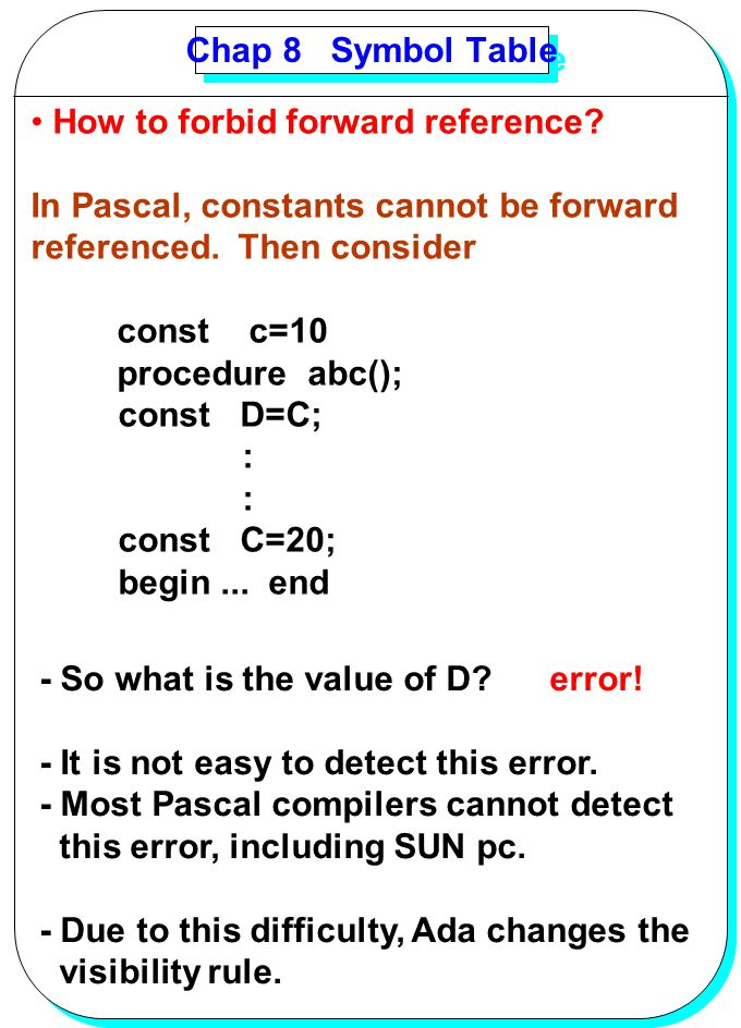 YANG Chap 8 Symbol Table How to forbid forward reference? In Pascal, constants cannot be forward referenced. Then consider const c=10 procedure abc();