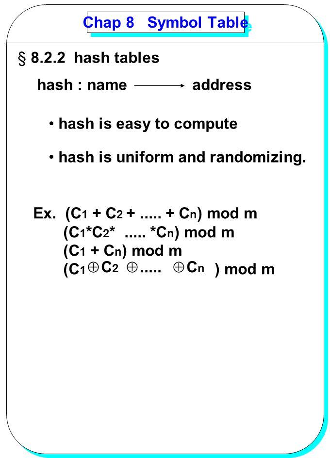 YANG Chap 8 Symbol Table § 8.2.2 hash tables hash : nameaddress hash is easy to compute hash is uniform and randomizing. Ex. (C 1 + C 2 +..... + C n )