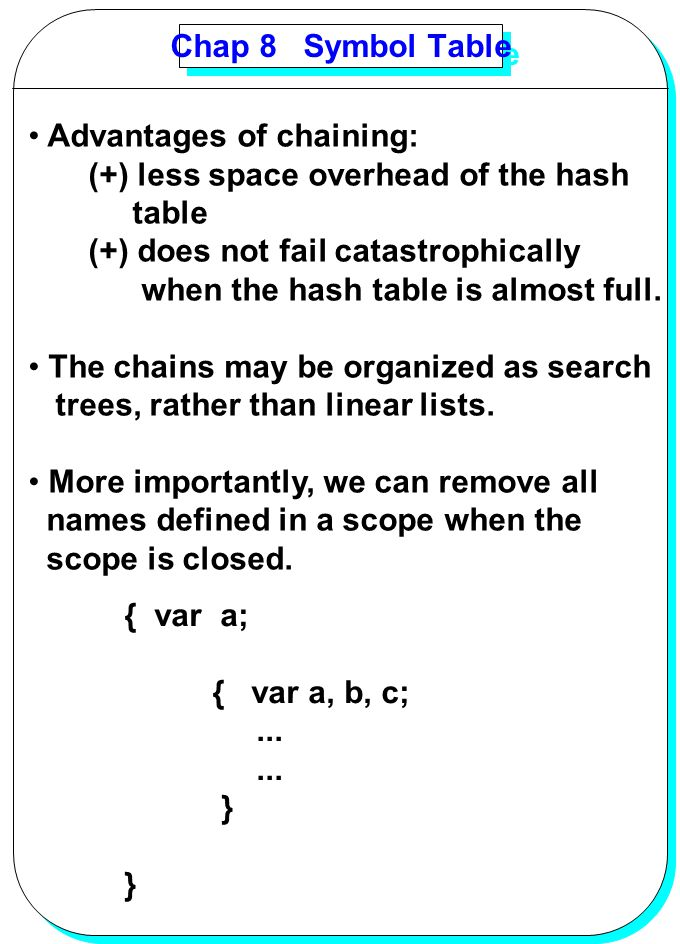 YANG Chap 8 Symbol Table Advantages of chaining: (+) less space overhead of the hash table (+) does not fail catastrophically when the hash table is a