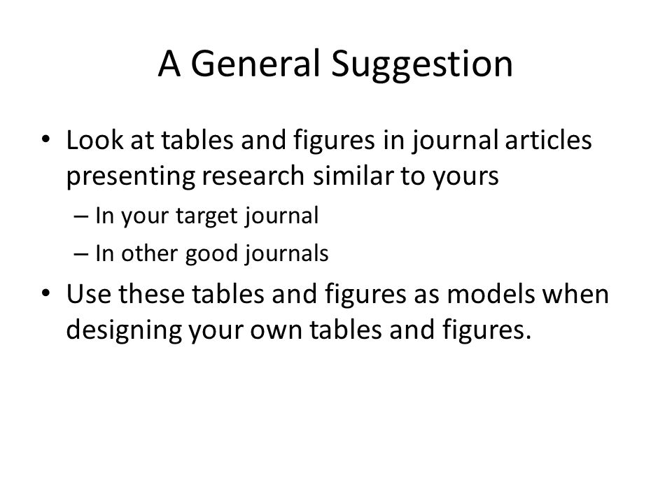 A General Suggestion Look at tables and figures in journal articles presenting research similar to yours – In your target journal – In other good journals Use these tables and figures as models when designing your own tables and figures.