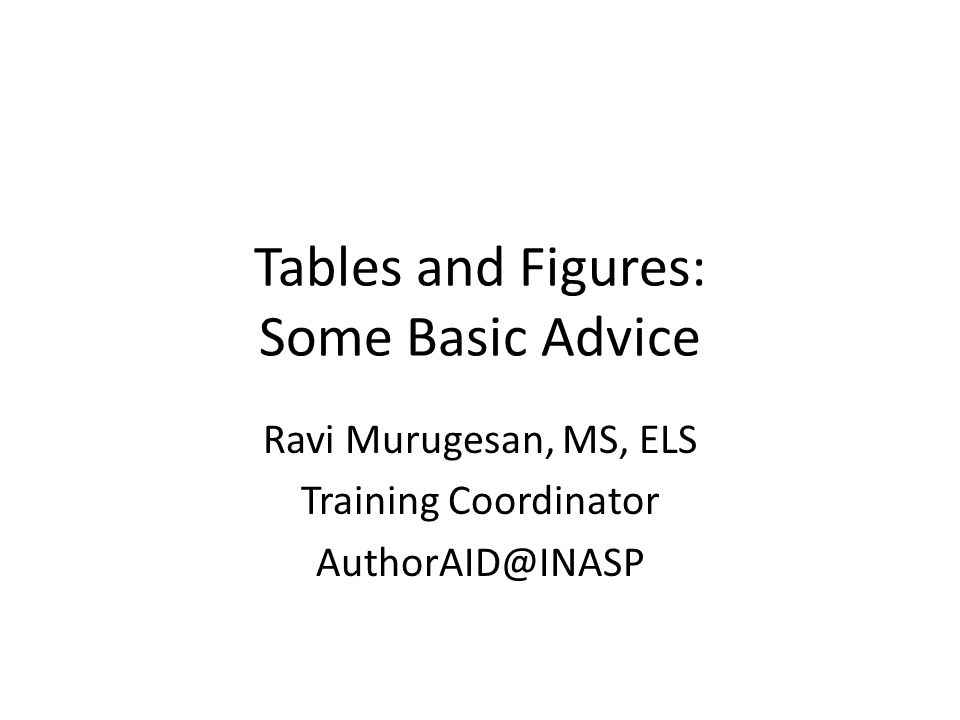 Tables and Figures: Some Basic Advice Ravi Murugesan, MS, ELS Training Coordinator AuthorAID@INASP