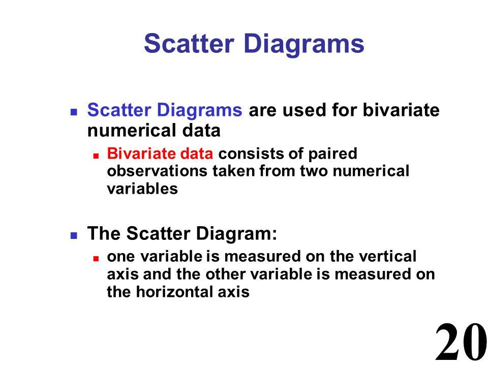 20 Scatter Diagrams are used for bivariate numerical data Bivariate data consists of paired observations taken from two numerical variables The Scatte