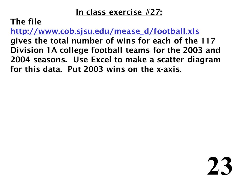 23 In class exercise #27: The file http://www.cob.sjsu.edu/mease_d/football.xls gives the total number of wins for each of the 117 Division 1A college