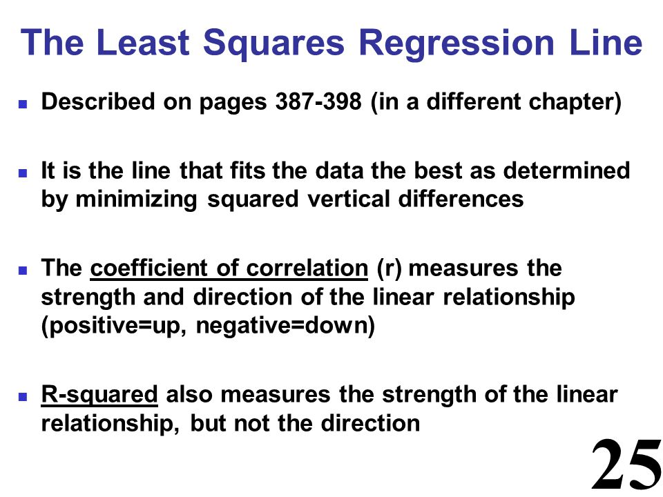 25 Described on pages 387-398 (in a different chapter) It is the line that fits the data the best as determined by minimizing squared vertical differe