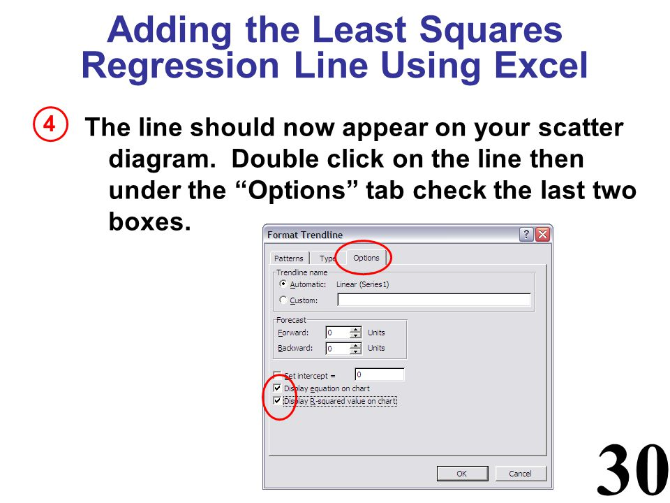 30 Adding the Least Squares Regression Line Using Excel The line should now appear on your scatter diagram. Double click on the line then under the Op