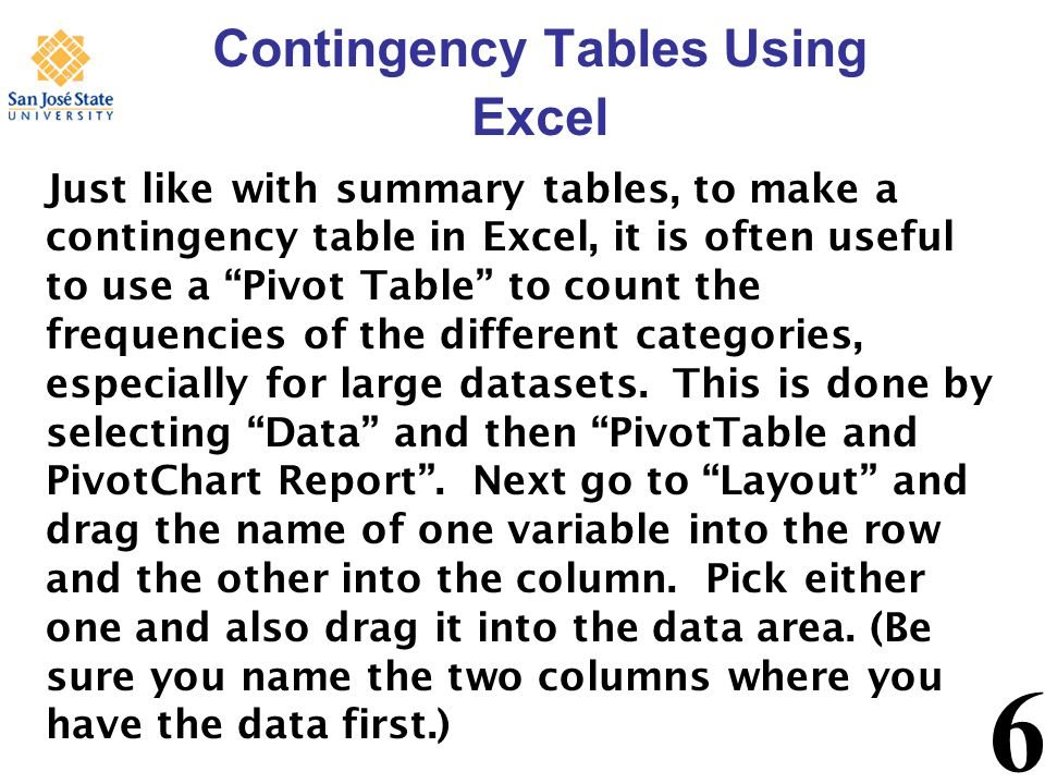 6 Contingency Tables Using Excel Just like with summary tables, to make a contingency table in Excel, it is often useful to use a Pivot Table to count the frequencies of the different categories, especially for large datasets.