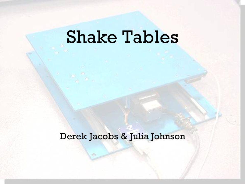 Shake Tables Derek Jacobs & Julia Johnson