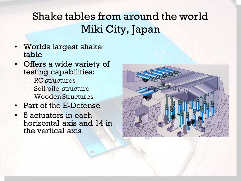 Shake tables from around the world Miki City, Japan Worlds largest shake table Offers a wide variety of testing capabilities: –RC structures –Soil pile-structure –Wooden Structures Part of the E-Defense 5 actuators in each horizontal axis and 14 in the vertical axis