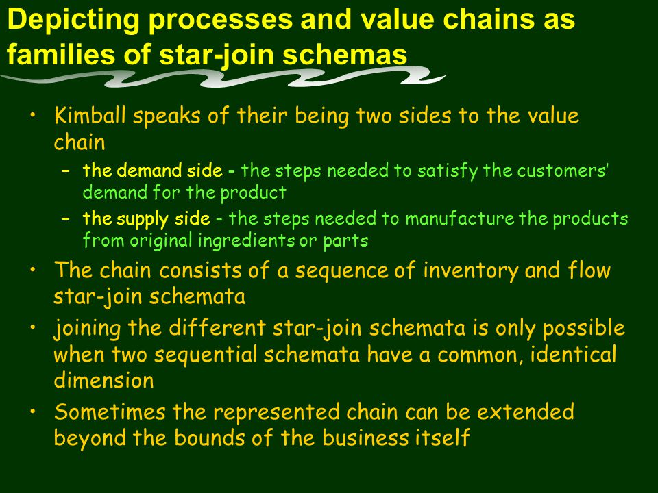 Depicting processes and value chains as families of star-join schemas Kimball speaks of their being two sides to the value chain –the demand side - the steps needed to satisfy the customers demand for the product –the supply side - the steps needed to manufacture the products from original ingredients or parts The chain consists of a sequence of inventory and flow star-join schemata joining the different star-join schemata is only possible when two sequential schemata have a common, identical dimension Sometimes the represented chain can be extended beyond the bounds of the business itself