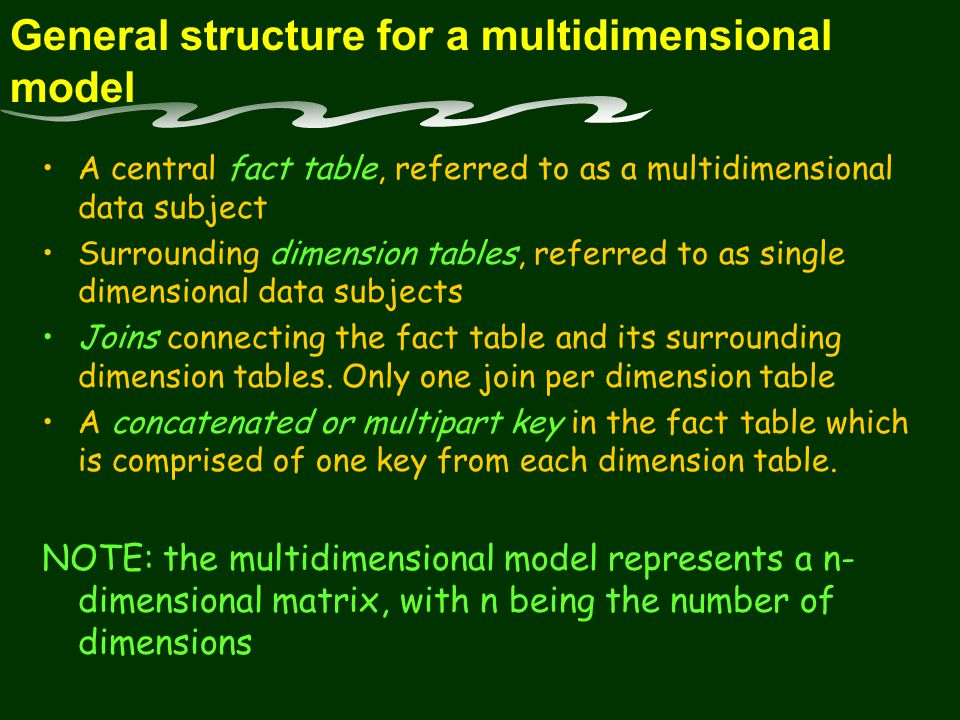 General structure for a multidimensional model A central fact table, referred to as a multidimensional data subject Surrounding dimension tables, referred to as single dimensional data subjects Joins connecting the fact table and its surrounding dimension tables.