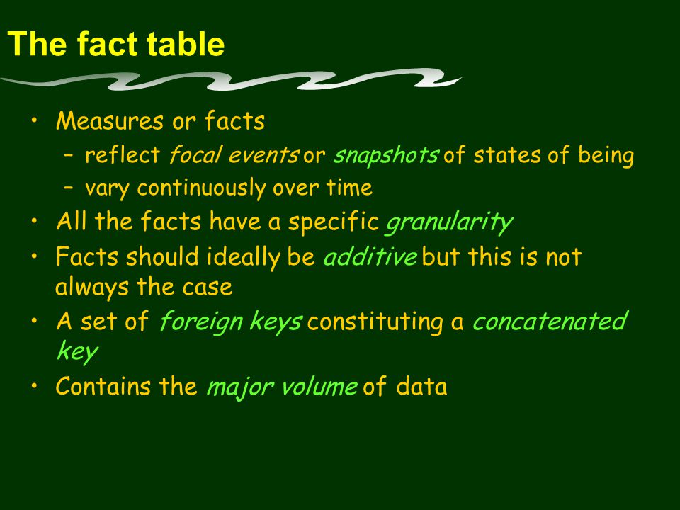The fact table Measures or facts –reflect focal events or snapshots of states of being –vary continuously over time All the facts have a specific granularity Facts should ideally be additive but this is not always the case A set of foreign keys constituting a concatenated key Contains the major volume of data