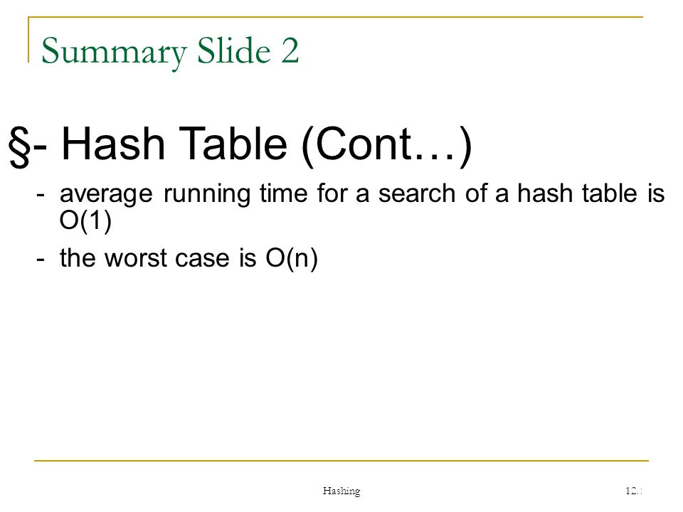 Hashing 122 Summary Slide 2 §- Hash Table (Cont…) - average running time for a search of a hash table is O(1) - the worst case is O(n)