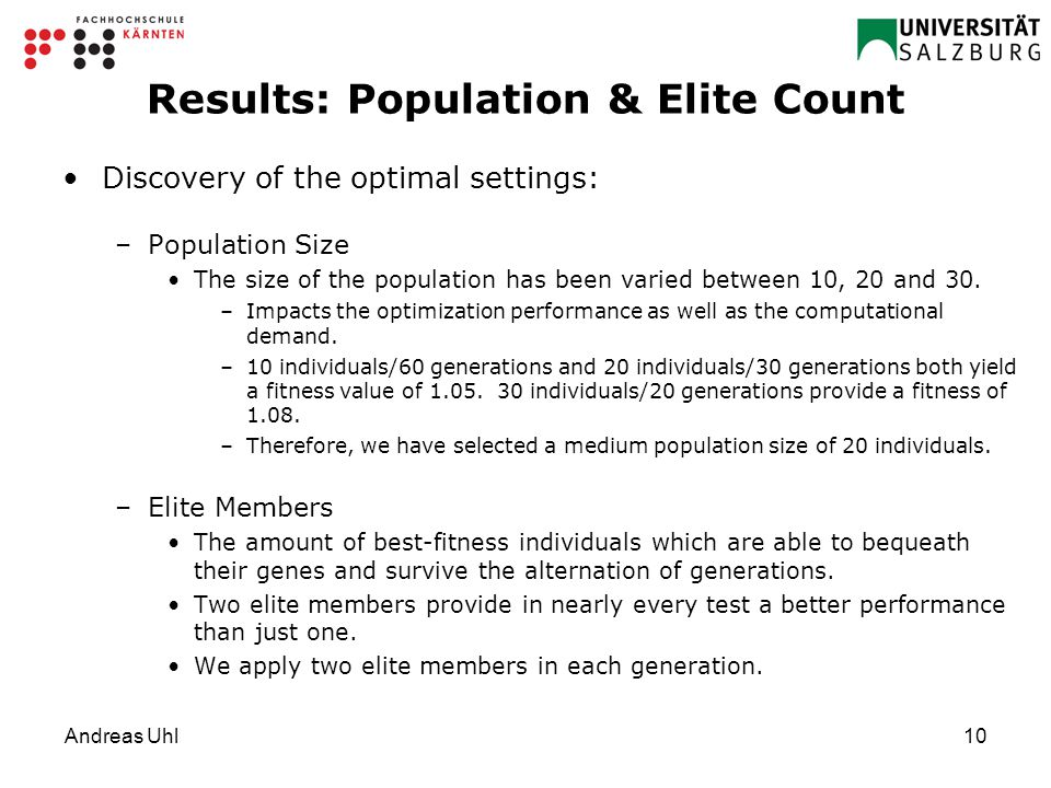 Andreas Uhl10 Results: Population & Elite Count Discovery of the optimal settings: –Population Size The size of the population has been varied between 10, 20 and 30.
