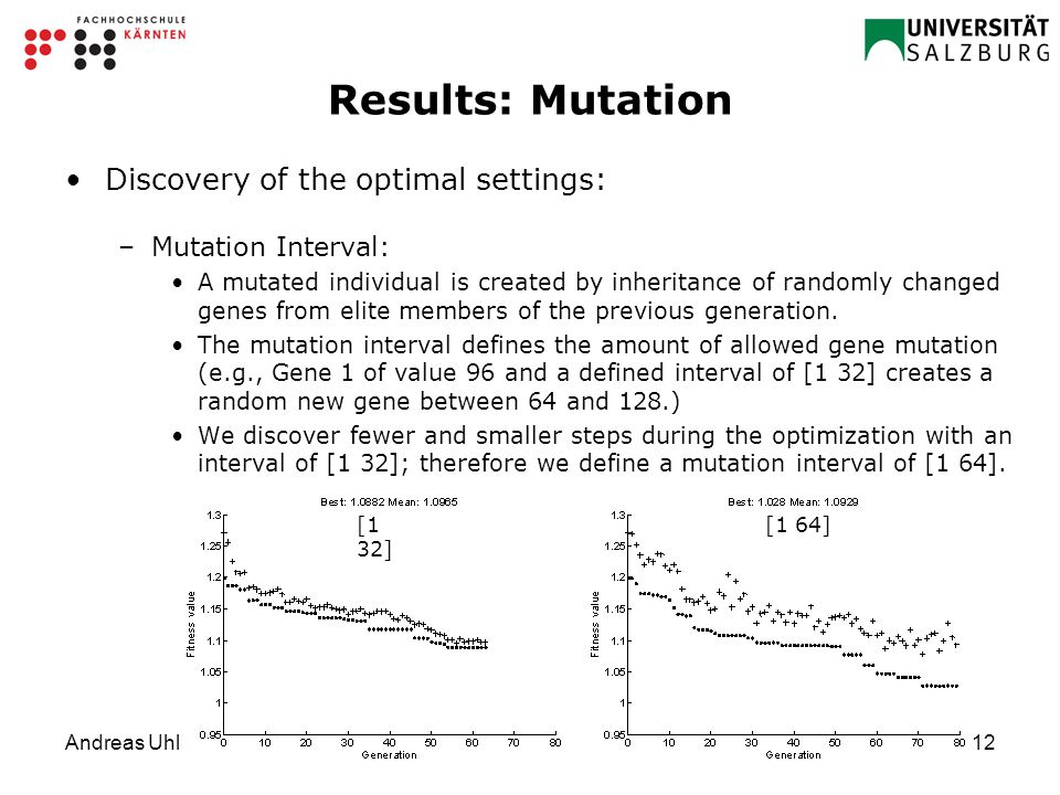 Andreas Uhl12 Results: Mutation Discovery of the optimal settings: –Mutation Interval: A mutated individual is created by inheritance of randomly changed genes from elite members of the previous generation.