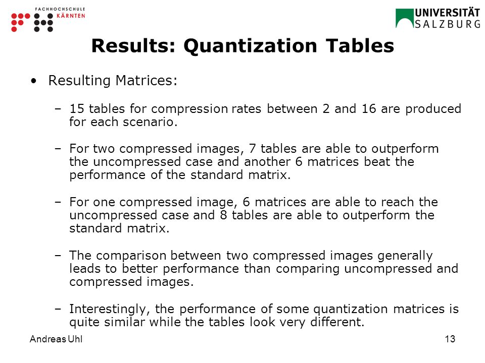 Andreas Uhl13 Results: Quantization Tables Resulting Matrices: –15 tables for compression rates between 2 and 16 are produced for each scenario.