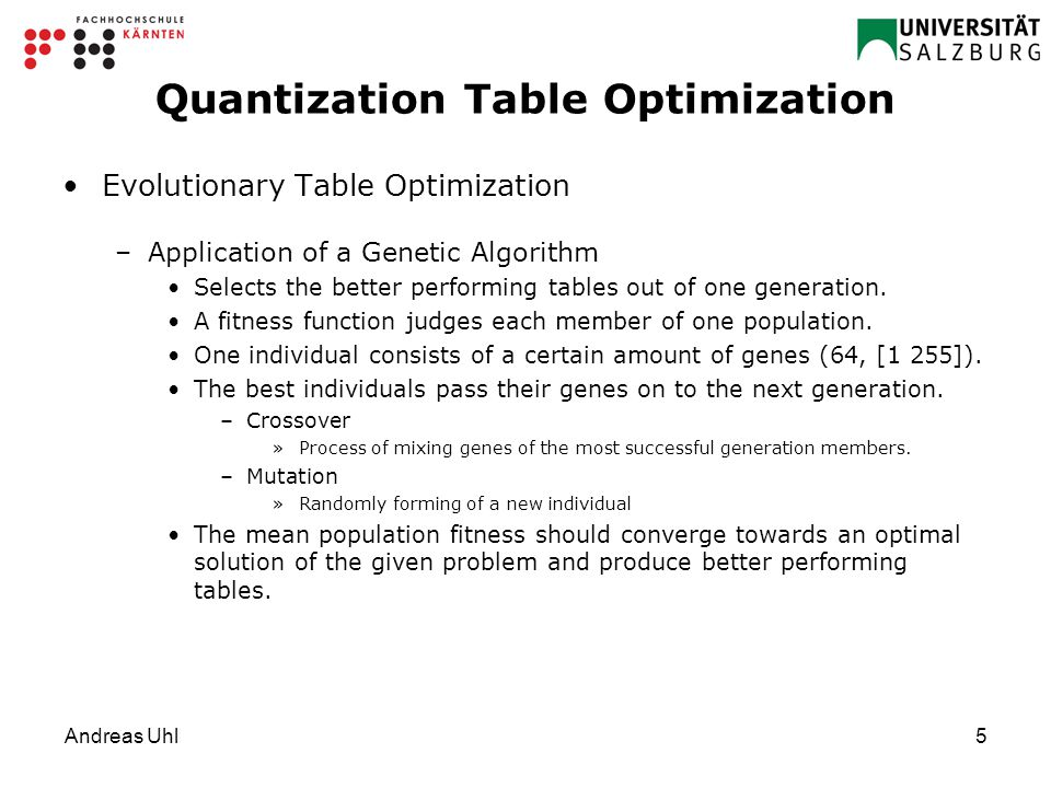 Andreas Uhl5 Quantization Table Optimization Evolutionary Table Optimization –Application of a Genetic Algorithm Selects the better performing tables out of one generation.