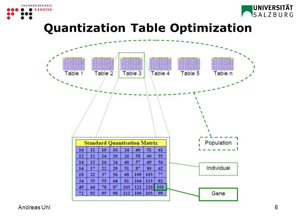 Andreas Uhl6 Quantization Table Optimization