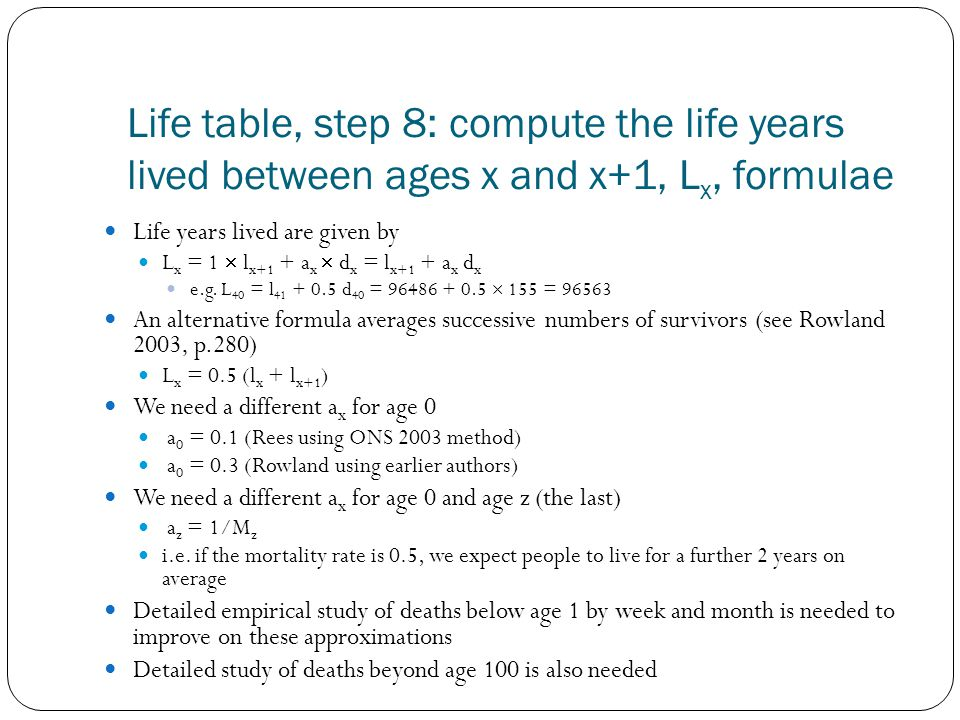 Life table, step 8: compute the life years lived between ages x and x+1, L x, formulae Life years lived are given by L x = 1 l x+1 + a x d x = l x+1 + a x d x e.g.