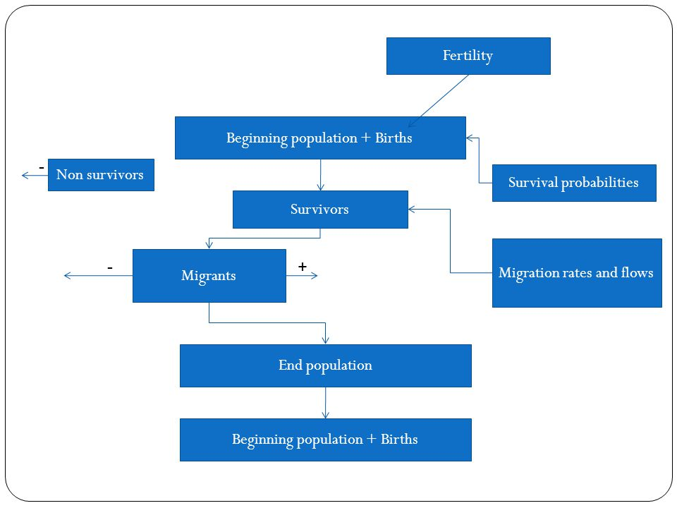 Beginning population + Births Fertility Survivors Survival probabilities Non survivors Migration rates and flows Migrants - -+ End population Beginning population + Births