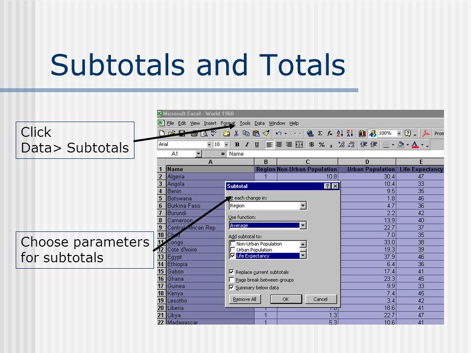 Subtotals and Totals Click Data> Subtotals Choose parameters for subtotals
